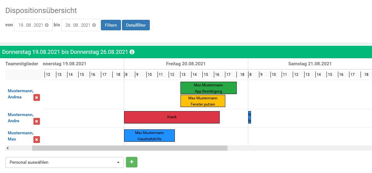 Update Personalplanung